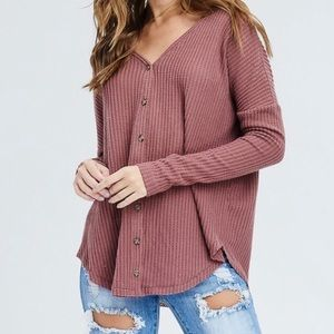 Tops - Ribbed button up cardigan top - mauve